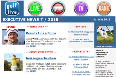 Newsletter Golf-Live.at 2015